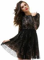 Романтичное кружевное женское платье с пышной юбкой рукав длиный гипюр на подкладке из микромасла фатин