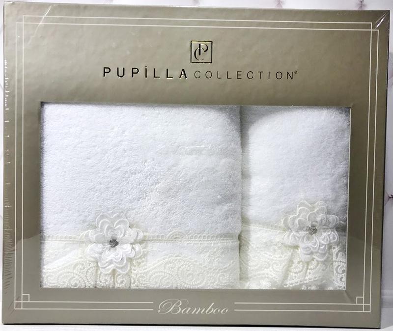 Набір рушників Pupilla Romantik Bambuk лицьове 50х90см і банне 70х140см, білий SA-6104