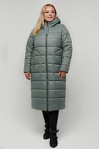 Стильна жіноча куртка-пальто плащівка м'ята синій 46-66 розмір
