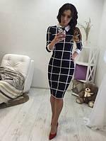 Элегантное клетчатое женское платье миди с рубашечным воротничком рукав три четверти структурный трикотаж