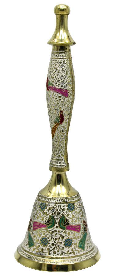 Колокольчик с ручкой  бронзовый цветной  (d-7,5,h-21 см)(Bell Cld large)