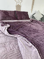Велюровый Комплект постельного белья двухсторонний Шахматка Слива - лиловый