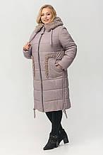"""Зимнее женское пальто с меховым воротником ArDi """"Мишель"""", пудра"""