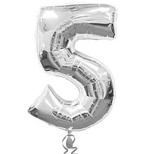 """Повітряна кулька срібло цифра 5, 40"""" (102 см) Flexmetal Іспанія 1635"""