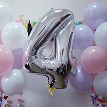 """Повітряна кулька срібло цифра 4, 40"""" (102 см) Flexmetal Іспанія 1634"""