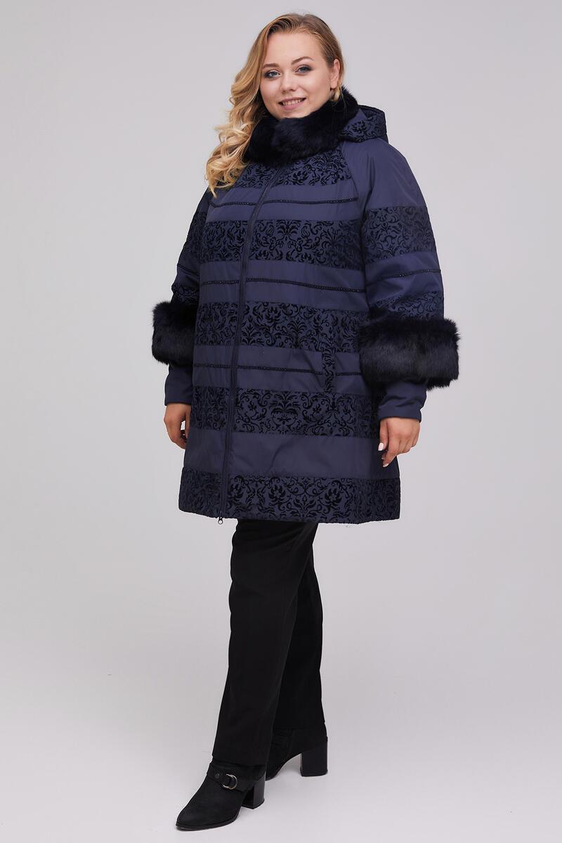Красивая куртка пальто полосы с натур кроликом осень-зима т-синяя 48-62 размер