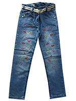 """Детские джинсы на девочку №3 """"Губы"""". 9-12 лет. Голубые. Оптом."""