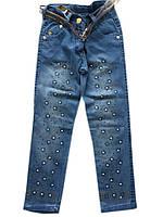 """Детские джинсы на девочку №5 """"Цветы"""". 5-8 лет. Голубые. Оптом., фото 1"""