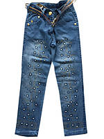 """Детские джинсы на девочку №5 """"Цветы"""". 1-4 года. Голубые. Оптом."""