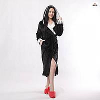 Халат жіночий довга з капюшоном махровий на запах чорний р. 42-56