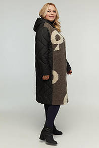 Пальто жіноче плащівка і пальтовая тканина прямого силуету з буквами мікро пух 48-64 розмір