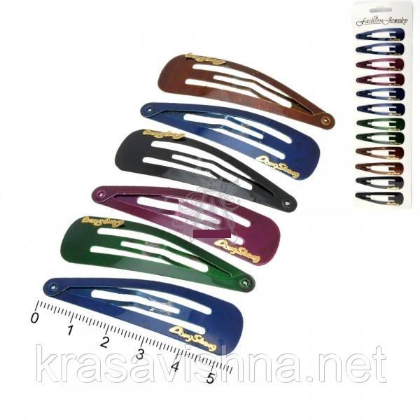 Хлопушки для волос цветные темные лого 5,5 см