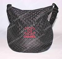 """Женская спортивная сумочка стеганая """"Chanel"""" чёрная"""