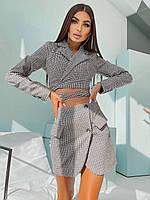 Костюм Лиза женский утепленный укорочённый пиджак с подплечниками на завязках и мини юбка в клетку Kdv1347