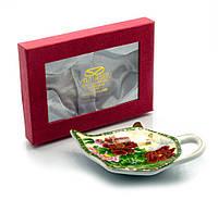 """Подставка под чайные пакетики Yamasen TBP1070) """"Пионы с бабочкой"""""""