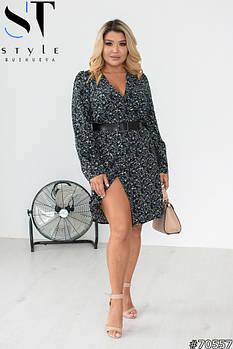 Элегантное женское платье на запах с глубоким V-образным вырезом с 48 по 58 размер