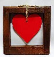 Сердце в рамке из дерева, фото 1