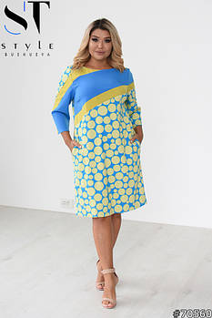 Повседневное женское платье в стиле casual с ярким принтом с 50 по 54 размер