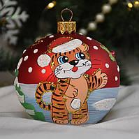 """Новогодний ёлочный шар из стекла 80 мм, символ года """"Тигренок и Снеговик с метлой"""""""