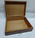 Деревянная шкатулка с ключом, 25*19*9 см (коричневая), фото 2