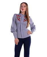 Классическая женская блуза с вышивкой серая