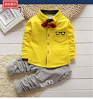 Костюм нарядный для мальчика двойка с желтой рубашкой размеры S-M (80-90)
