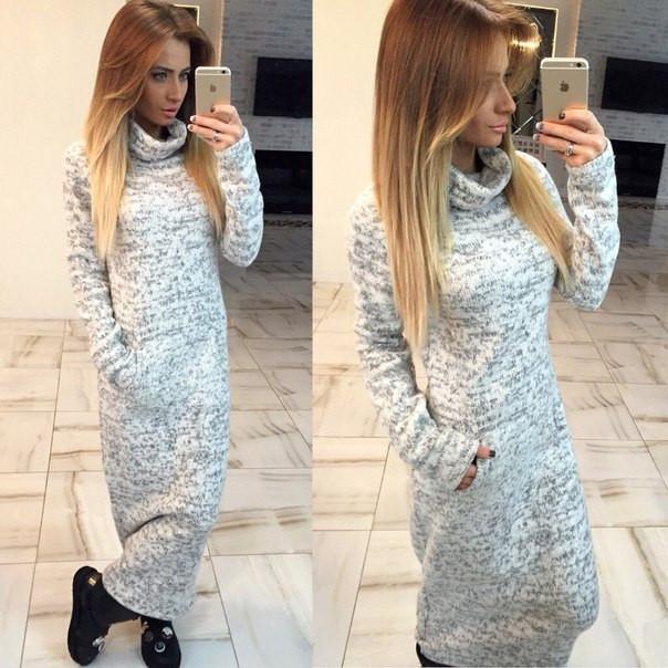 85784ca2ca3 Зимнее теплое длинное платье -