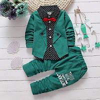 Костюм нарядный для мальчика двойка с имитацией пиджака зеленый размеры S-M (80-90)