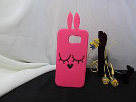 Объемный 3D силиконовый чехол для Samsung S6 Galaxy Duos G9200 Кролик красный