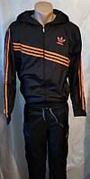 Спортивный костюм Адидас плащевка с оранжевыми вставками, фото 1
