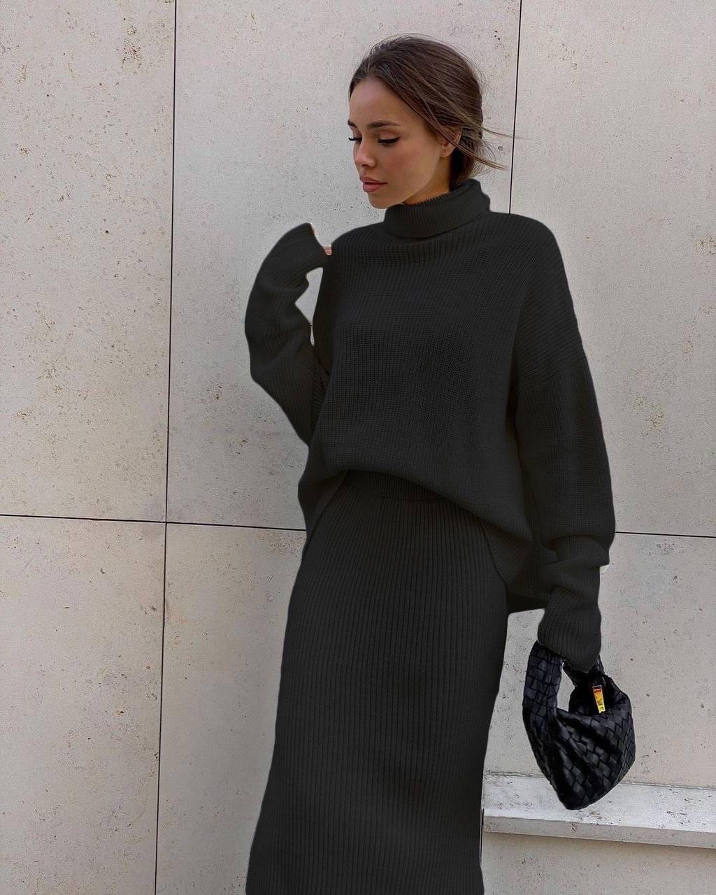 Жіночий костюм, ангора-рубчик, р-р 42-44; 46-48 (чорний)