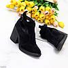 Модельні чорні замшеві ботильйони жіночі черевики натуральна замша, фото 4