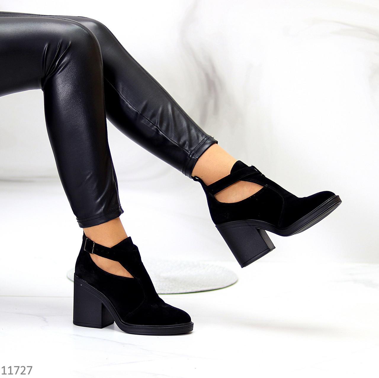 Модельні чорні замшеві ботильйони жіночі черевики натуральна замша