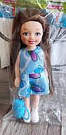 Игрушка кукла 14 см. Маленькая кукла в платье, с сумочкой
