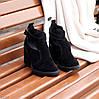 Модельные черные замшевые женские ботинки ботильоны натуральная замша, фото 2