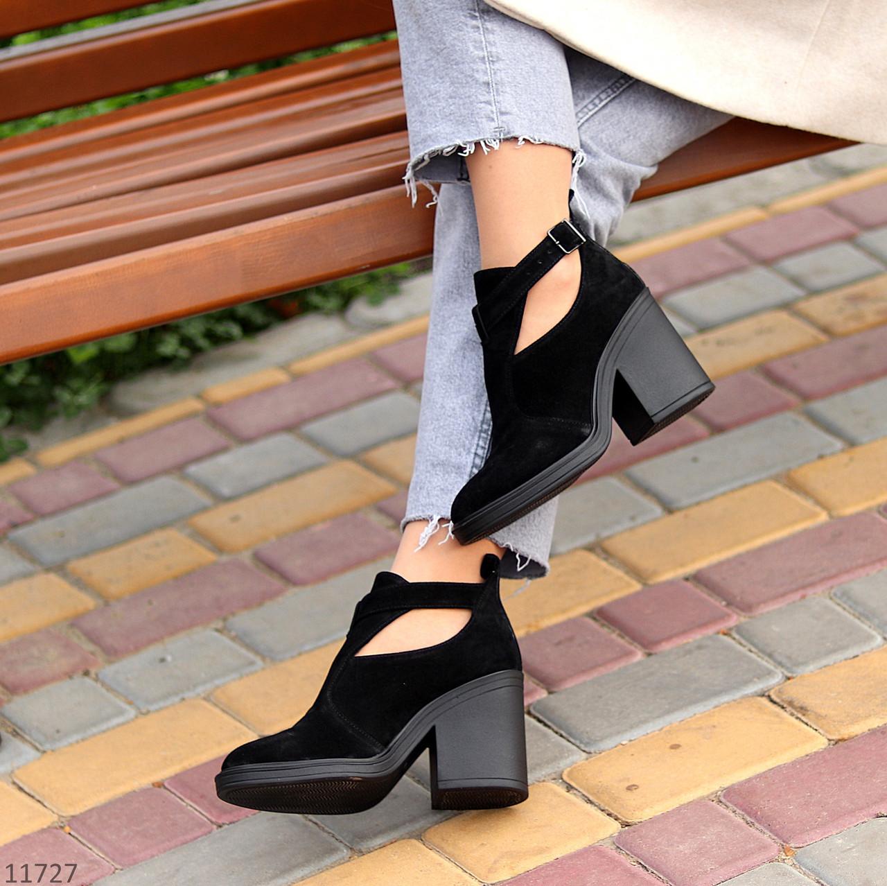 Модельные черные замшевые женские ботинки ботильоны натуральная замша