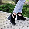 Модельные черные замшевые женские ботинки ботильоны натуральная замша, фото 7