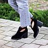 Модельные черные замшевые женские ботинки ботильоны натуральная замша, фото 4