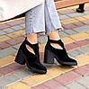 Модельные черные замшевые женские ботинки ботильоны натуральная замша, фото 6