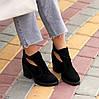 Модельные черные замшевые женские ботинки ботильоны натуральная замша, фото 5