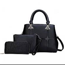 Жіноча сумка 3в1, екошкіра PU (чорний)