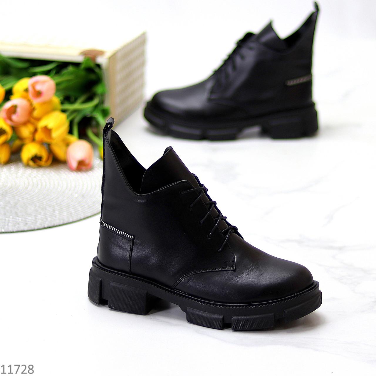 Кожаные дизайнерские черные женские ботинки натуральная кожа на флисе