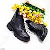 Кожаные дизайнерские черные женские ботинки натуральная кожа на флисе, фото 3