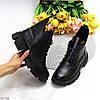 Кожаные дизайнерские черные женские ботинки натуральная кожа на флисе, фото 9