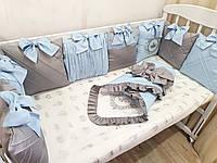"""Бортики в кроватку """" голубые короны"""", фото 1"""