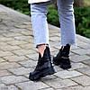Шкіряні дизайнерські чорні жіночі чоботи натуральна шкіра на флісі, фото 3
