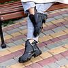 Шкіряні дизайнерські чорні жіночі чоботи натуральна шкіра на флісі, фото 2