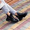 Шкіряні дизайнерські чорні жіночі чоботи натуральна шкіра на флісі, фото 4