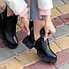 Шкіряні дизайнерські чорні жіночі чоботи натуральна шкіра на флісі, фото 5