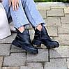 Шкіряні дизайнерські чорні жіночі чоботи натуральна шкіра на флісі, фото 10